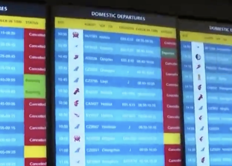 On Thursday domestic flights were cancelled as the city stepped up its response to coronavirus. Source: KNews
