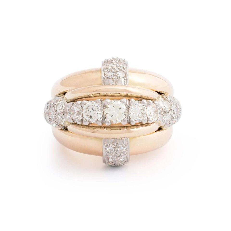 "<p><em><strong>Fox & Bond</strong> Retro Diamond, 18-Karat Gold, and Platinum Bombe Cocktail Ring, circa the 1930s-1950s, $6,840, <a href=""https://foxandbond.com/products/retro-diamond-18k-gold-and-platinum-bombe-cocktail-ring?_pos=4&_sid=3b40a82c2&_ss=r"" rel=""nofollow noopener"" target=""_blank"" data-ylk=""slk:foxandbond.com"" class=""link rapid-noclick-resp"">foxandbond.com</a></em></p><p><a class=""link rapid-noclick-resp"" href=""https://foxandbond.com/products/retro-diamond-18k-gold-and-platinum-bombe-cocktail-ring?_pos=4&_sid=3b40a82c2&_ss=r"" rel=""nofollow noopener"" target=""_blank"" data-ylk=""slk:SHOP"">SHOP</a></p>"