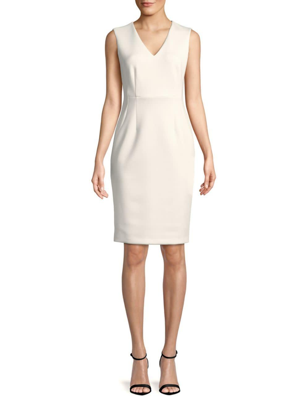 "<strong><a href=""https://www.lordandtaylor.com/calvin-klein-v-neck-sheath-dress/product/0500088389530"" rel=""nofollow noopener"" target=""_blank"" data-ylk=""slk:Calvin Klein V-neck sheath dress"" class=""link rapid-noclick-resp"">Calvin Klein V-neck sheath dress</a>, $49.99</strong>"