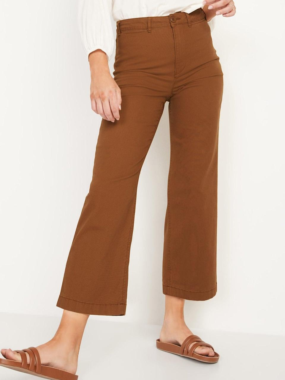 <p>Rich bourbon <span>Old Navy Extra High-Waisted Canvas Wide-Leg Cropped Pants</span> ($35) would mix up especially well with a creamy sweater this season.</p>