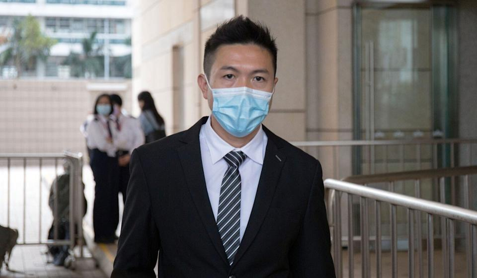 Senior Inspector Wong Ka-lun appears at the West Kowloon Court. Photo: Brian Wong