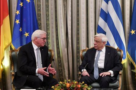 Greek President Prokopis Pavlopoulos meets with German President Frank-Walter Steinmeier at the Presidential Palace in Athens, Greece, October 11, 2018. REUTERS/Michalis Karagiannis