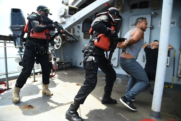 International forces have conducted numerous anti-piracy exercises off West Africa's coast, like the one pictured here in November (AFP Photo/PIUS UTOMI EKPEI)