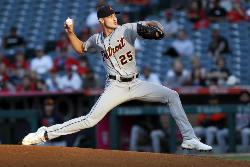 Detroit Tigers starting pitcher Matt Manning throws to a Los Angeles Angels batter during the second inning of a baseball game in Anaheim, Calif., Thursday, June 17, 2021. (AP Photo/Alex Gallardo)