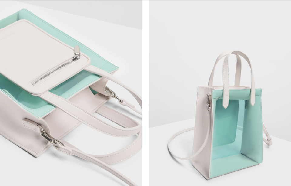 PHOTO: Charles & Keith. Zipper Compartment Transparent Bag, S$26.30 (was S$65.90)