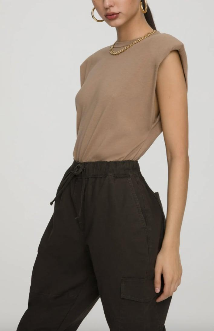 <p>We love the boxy look of this <span>Good American Strong Shoulder Tank</span> ($55).</p>