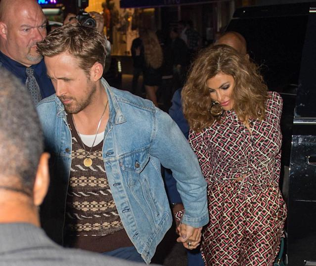 """Ryan Gosling and Eva Mendes at the """"SNL"""" Season 43 after-party at Tao in New York City."""