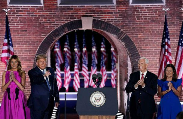 PHOTO: President Donald Trump and first lady Melania Trump stand with Mike Pence and his wife Karen Pence during the Republican National Convention at Fort McHenry National Monument on Aug. 26, 2020, in Baltimore. (Drew Angerer/Getty Images)