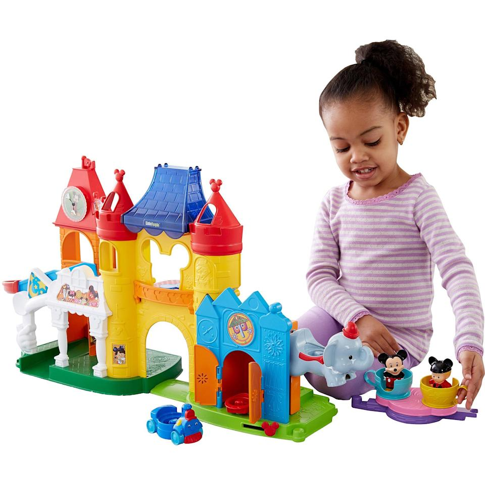 "<p>Whether they're gearing up for their first big trip to Disney World or cutting their teeth on some of Mom and Dad's first Disney classics, toddlers will love all of the interactive fun that comes along with Fisher-Price's <a href=""https://www.popsugar.com/buy/Little-People-Discovery-Disney-Play-Set-105125?p_name=Little%20People%20Discovery%20Disney%20Play%20Set&retailer=amazon.com&pid=105125&price=75&evar1=moms%3Aus&evar9=25800161&evar98=https%3A%2F%2Fwww.popsugar.com%2Fphoto-gallery%2F25800161%2Fimage%2F36092601%2FFisher-Price-Little-People-Discovery-Disney-Play-Set&list1=gifts%2Choliday%2Cgift%20guide%2Cparenting%2Ctoddlers%2Clittle%20kids%2Ckid%20shopping%2Choliday%20living%2Choliday%20for%20kids%2Cgifts%20for%20toddlers%2Cbest%20of%202019&prop13=api&pdata=1"" class=""link rapid-noclick-resp"" rel=""nofollow noopener"" target=""_blank"" data-ylk=""slk:Little People Discovery Disney Play Set"">Little People Discovery Disney Play Set</a> ($75). Send Minnie and Mickey on a whirling teacup ride, or pay a visit to the Magic Kingdom.</p>"