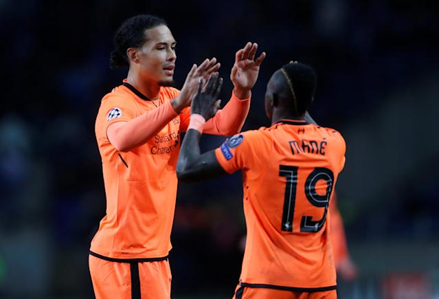 Soccer Football - Champions League Round of 16 First Leg - FC Porto vs Liverpool - Estadio do Dragao, Porto, Portugal - February 14, 2018 Liverpool's Sadio Mane celebrates scoring their fifth goal and completing his hat trick with Virgil van Dijk Action Images via Reuters/Matthew Childs