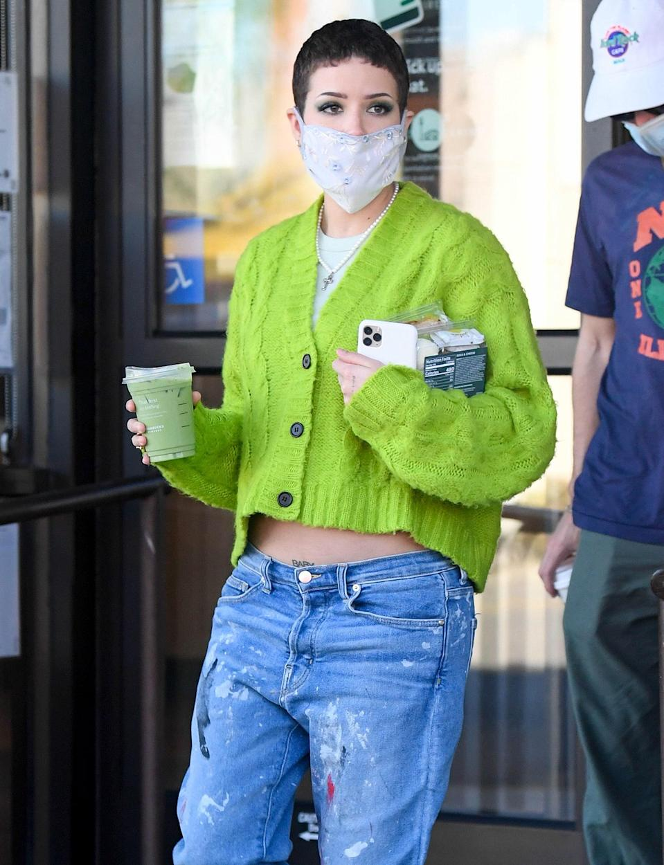 <p>Parents-to-be Halsey and Alev Aydin grab Starbucks to go on Thursday in L.A.</p>