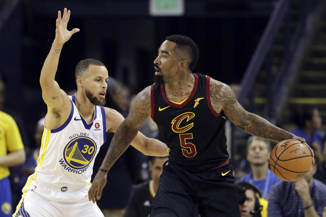 Warriors fans will not let J.R. Smith live down his Game 1 blunder. (AP Photo/Marcio Jose Sanchez)