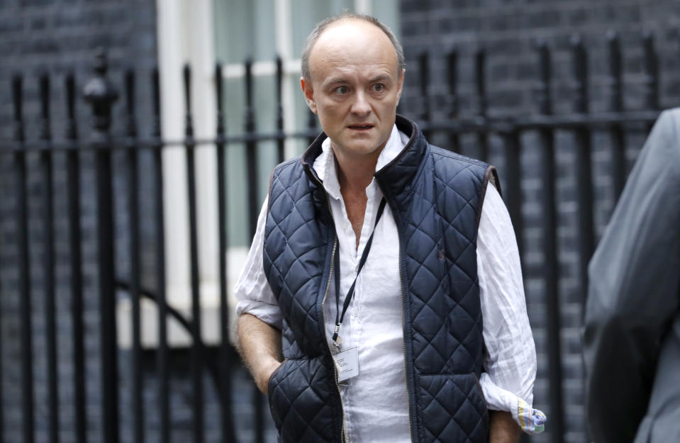 """Dominic Cummings, Special Advisor to British Prime Minister Boris Johnson, leaves Downing Street in London, Wednesday, Sept. 4, 2019. With Britain's prime minister weakened by a major defeat in Parliament, defiant lawmakers were moving Wednesday to bar Boris Johnson from pursuing a """"no-deal"""" departure from the European Union. (AP Photo/Alastair Grant)"""