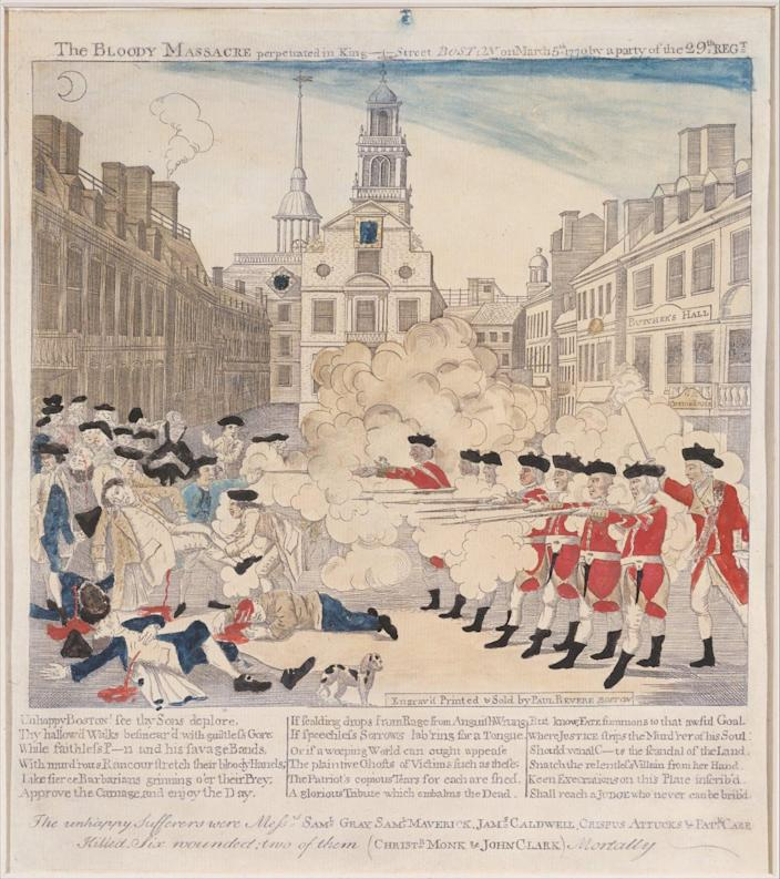 An illustration of British redcoats firing into a civilian crowd
