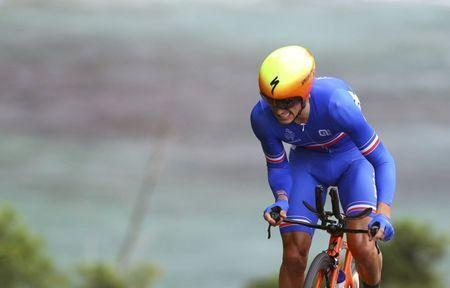 FILE PHOTO: 2016 Rio Olympics - Cycling Road - Final - Men's Individual Time Trial - Pontal - Rio de Janeiro, Brazil - 10/08/2016. Julian Alaphilippe (FRA) of France competes. REUTERS/Paul Hanna