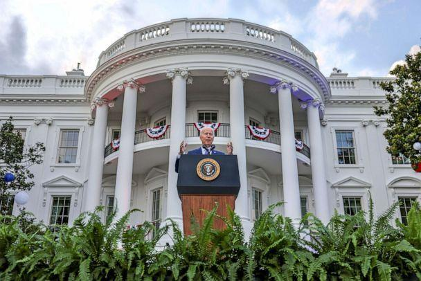 PHOTO: President Joe Biden delivers remarks at a celebration of Independence Day at the White House in Washington, D.C., July 4, 2021. (Evelyn Hockstein/Reuters)