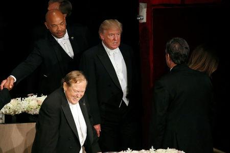 Republican U.S. presidential nominee Donald Trump departs at the end of the Alfred E. Smith Memorial Foundation dinner in New York, U.S. October 20, 2016. REUTERS/Jonathan Ernst