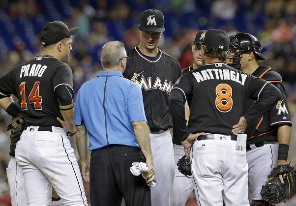 Colin Rea was traded back to the San Diego Padres after developing elbow soreness in his Marlins' debut. (AP)