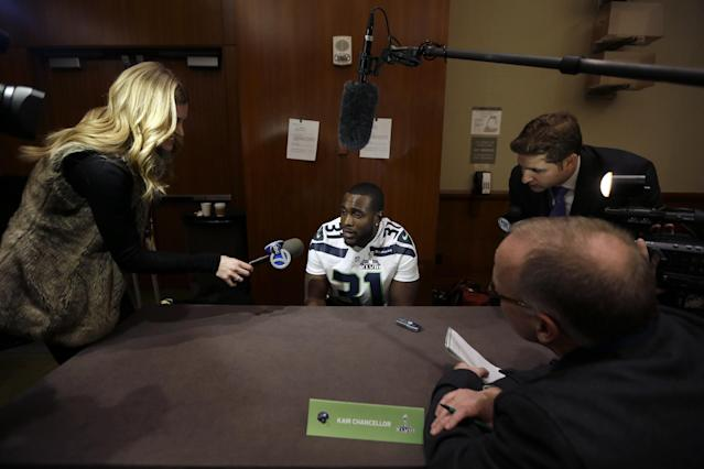 Seattle Seahawks safety Kam Chancellor answers questions during a media availability Thursday, Jan. 30, 2014, in Jersey City, N.J. The Seahawks and the Denver Broncos are scheduled to play in the Super Bowl XLVIII football game Sunday, Feb. 2, 2014. (AP Photo)