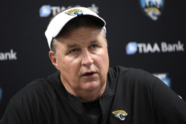 "FILE - In this Aug. 8, 2019, file photo, Jacksonville Jaguars head coach Doug Marrone talks to reporters after an NFL football preseason game against the Baltimore Ravens in Baltimore. Jaguars running back Leonard Fournette insists he's made professional progress. Coach Doug Marrone is hesitant to agree. Marrone says ""we are going to see."" This much everyone is certain: Fournette's performance on and off the field will go a long way toward determining whether the Jaguars remain at the bottom of the AFC South or return to being conference contenders in 2019. (AP Photo/Nick Wass, File)"