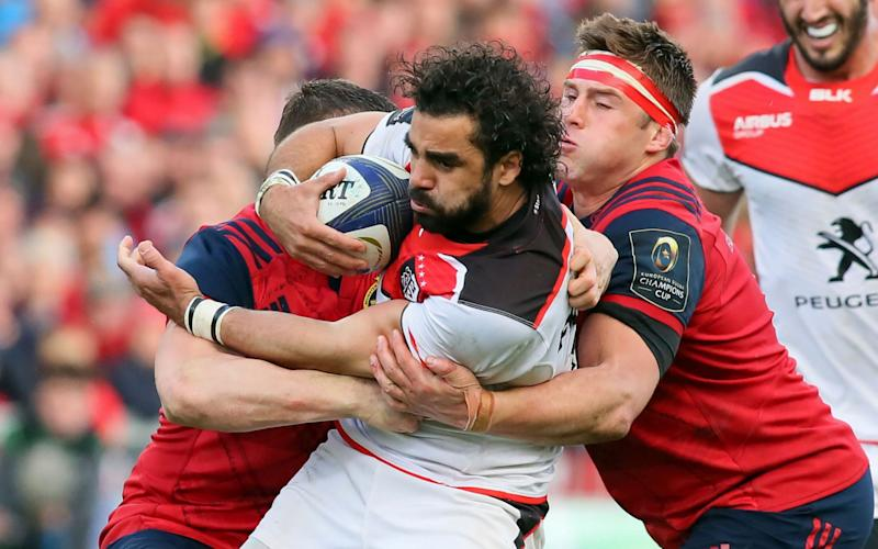 Yoann Huget is tackled by CJ Stander - Credit: AFP