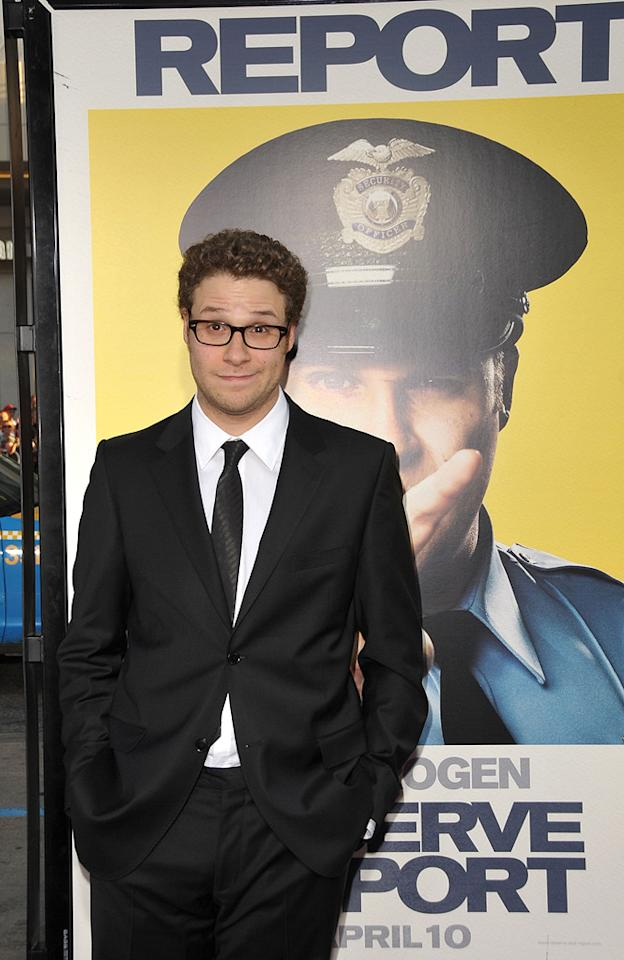 """<a href=""""http://movies.yahoo.com/movie/contributor/1804494942"""">Seth Rogen</a> at the Los Angeles premiere of <a href=""""http://movies.yahoo.com/movie/1810025224/info"""">Observe and Report</a> - 04/06/2009"""