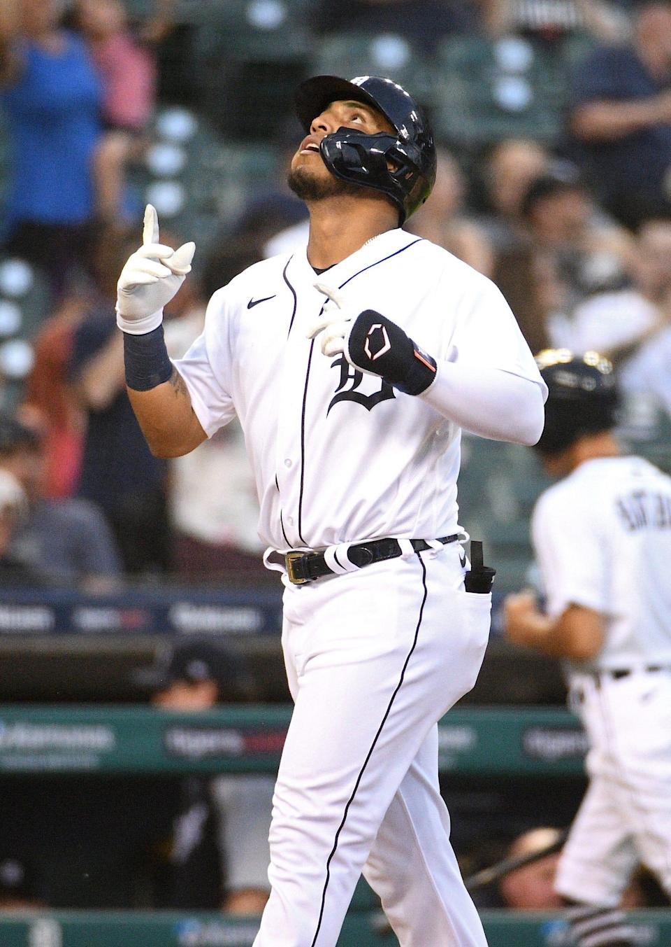 Tigers shortstop Isaac Paredes celebrates his home run against the White Sox during the fifth inning on Friday, June 11, 2021, at Comerica Park.