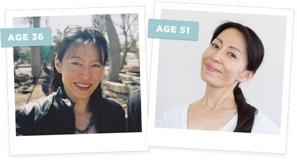 Takastu just after the crash at the age of 36 on left, and after years of Face Yoga practice, on right, at 51 years old. (Photo: Fumiko Takastu)