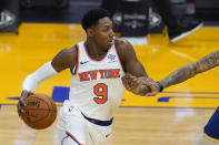 New York Knicks guard RJ Barrett works against the Golden State Warriors during the first half of an NBA basketball game in San Francisco, Thursday, Jan. 21, 2021. (AP Photo/Jeff Chiu)