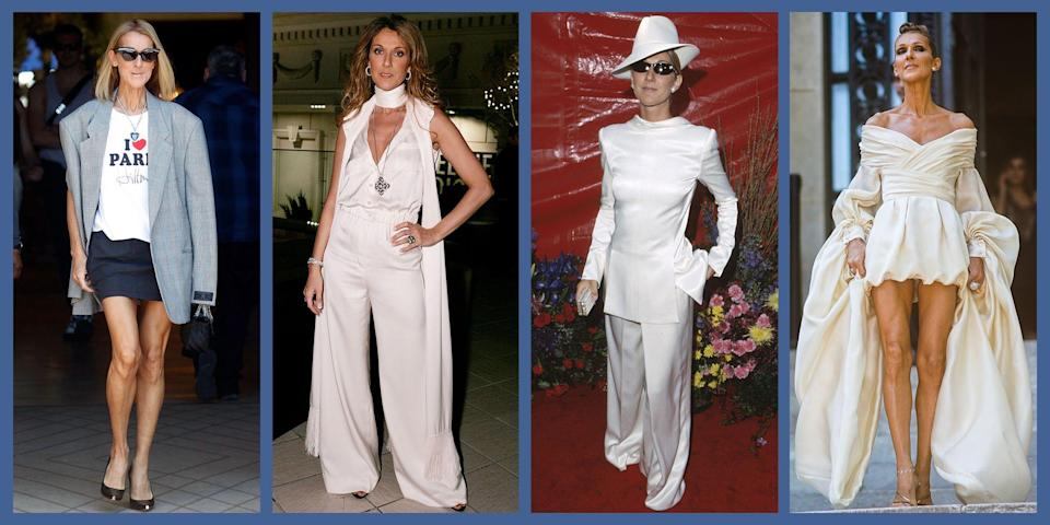 """<p>Canadian megastar Celine Dion has been in the spotlight since she was a child singing in her family's piano bar. A career spanning four decades lends itself to <a href=""""https://www.townandcountrymag.com/leisure/arts-and-culture/a26098463/celine-dion-biopic-the-power-of-love-details/"""" rel=""""nofollow noopener"""" target=""""_blank"""" data-ylk=""""slk:1) a biopic"""" class=""""link rapid-noclick-resp"""">1) a biopic</a>, and 2) a sprawling wardrobe. Since her first performances, she's learned a few things about fashion, and has never been afraid to push sartorial boundaries. From leather catsuits to trompe l'oeil dresses, Dion has proved herself to be one of the greatest, boldest avant-garde style icons of our time. </p>"""