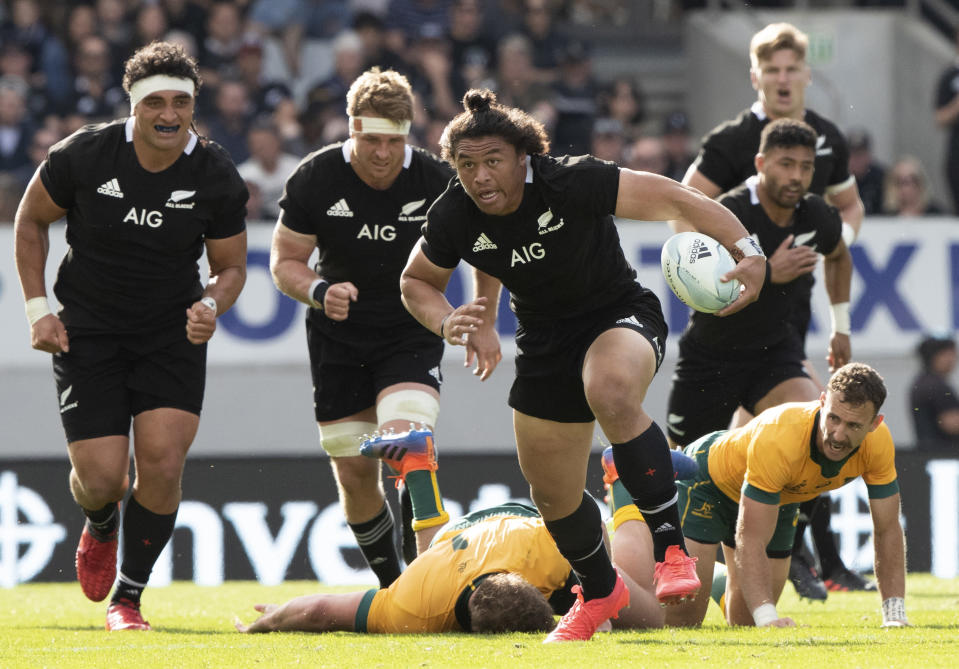 New Zealand's Caleb Clarke makes a run during the second Bledisloe Rugby test between the All Blacks and the Wallabies at Eden Park in Auckland, New Zealand, Sunday, Oct. 18, 2020. (AP Photo/Mark Baker)