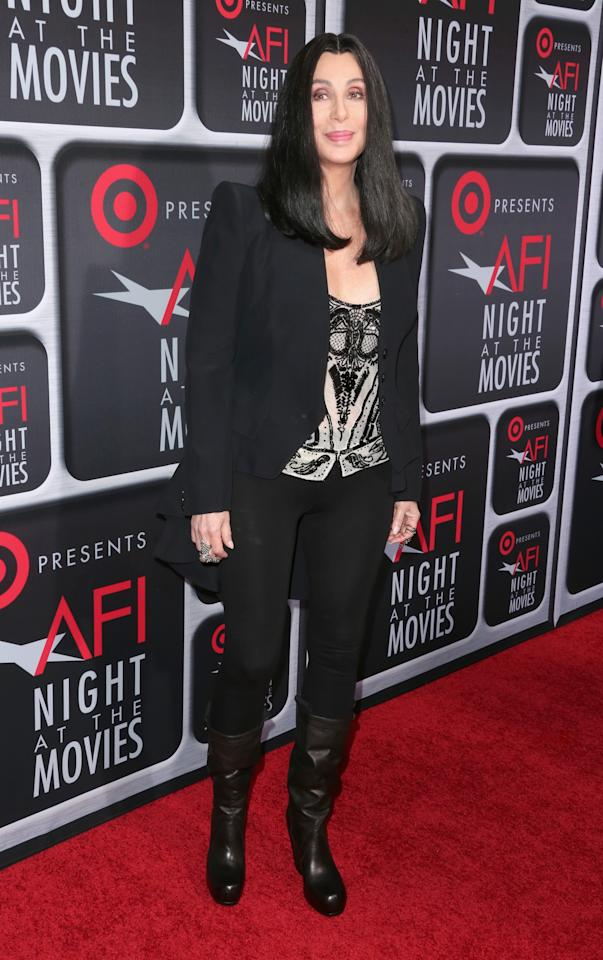 HOLLYWOOD, CA - APRIL 24:  Singer/actress Cher  arrives on the red carpet for Target Presents AFI's Night at the Movies at ArcLight Cinemas on April 24, 2013 in Hollywood, California.  (Photo by Frederick M. Brown/Getty Images)