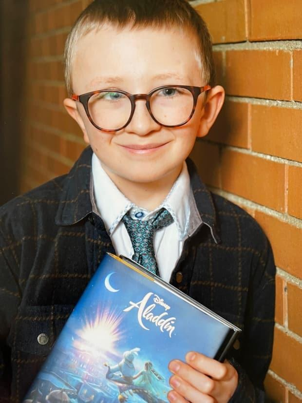 Nine-year-old Adam Byrns has adapted to online learning, but says he's still looking forward to being back in class with his friends.  (Submitted by Emilie Boulay - image credit)