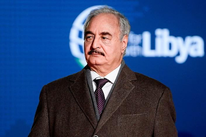 Self-proclaimed Libyan National Army (LNA) Chief of Staff, Khalifa Haftar arrives for a conference on Libya on Nov. 12, 2018 at Villa Igiea in Palermo. (Photo: Filippo Monteforte/AFP/Getty Images)