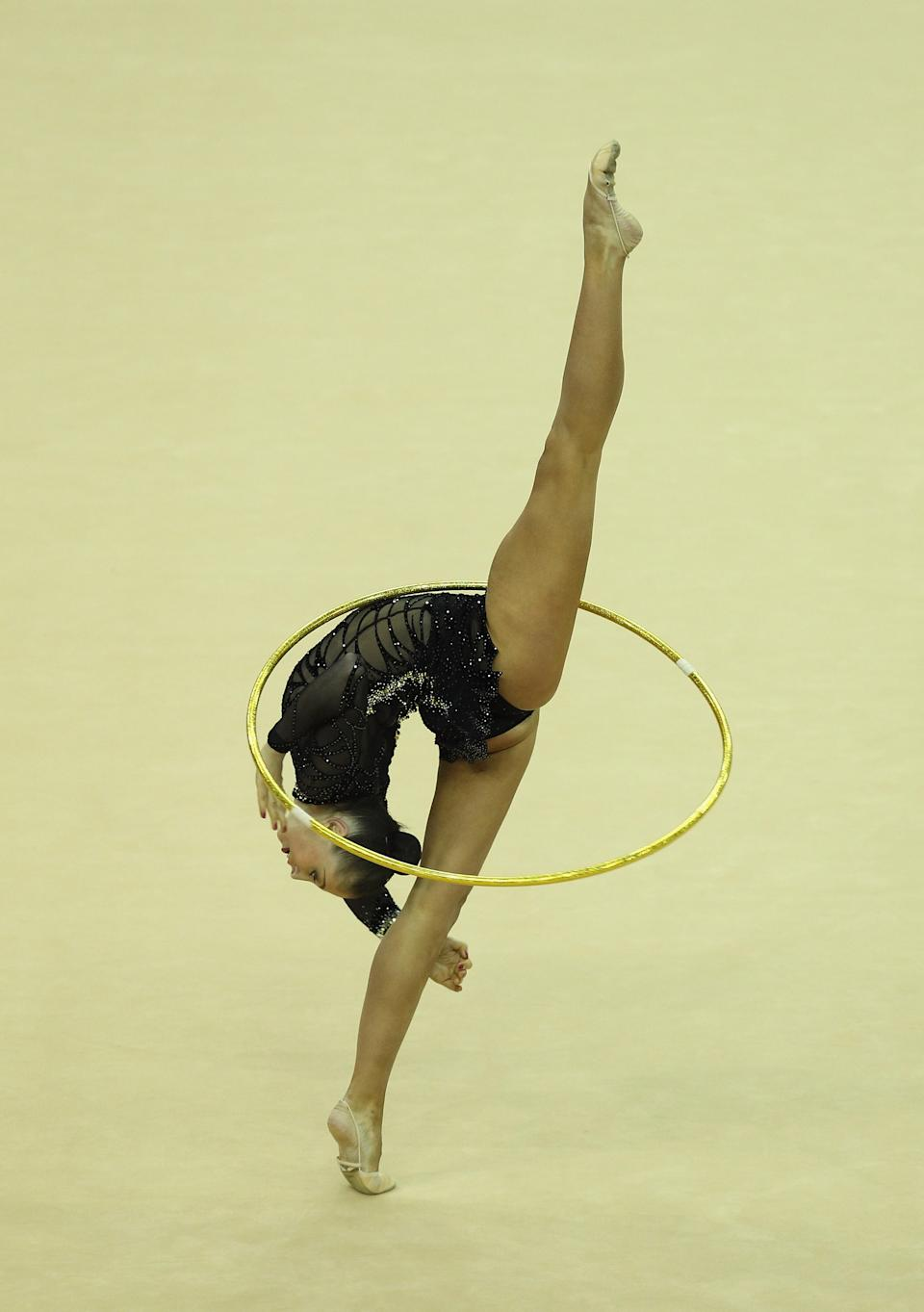 Daria Kondakova of Russia in action in the Individual All-Around during the FIG Rhythmic Gymnastics Olympic Qualification round in London.