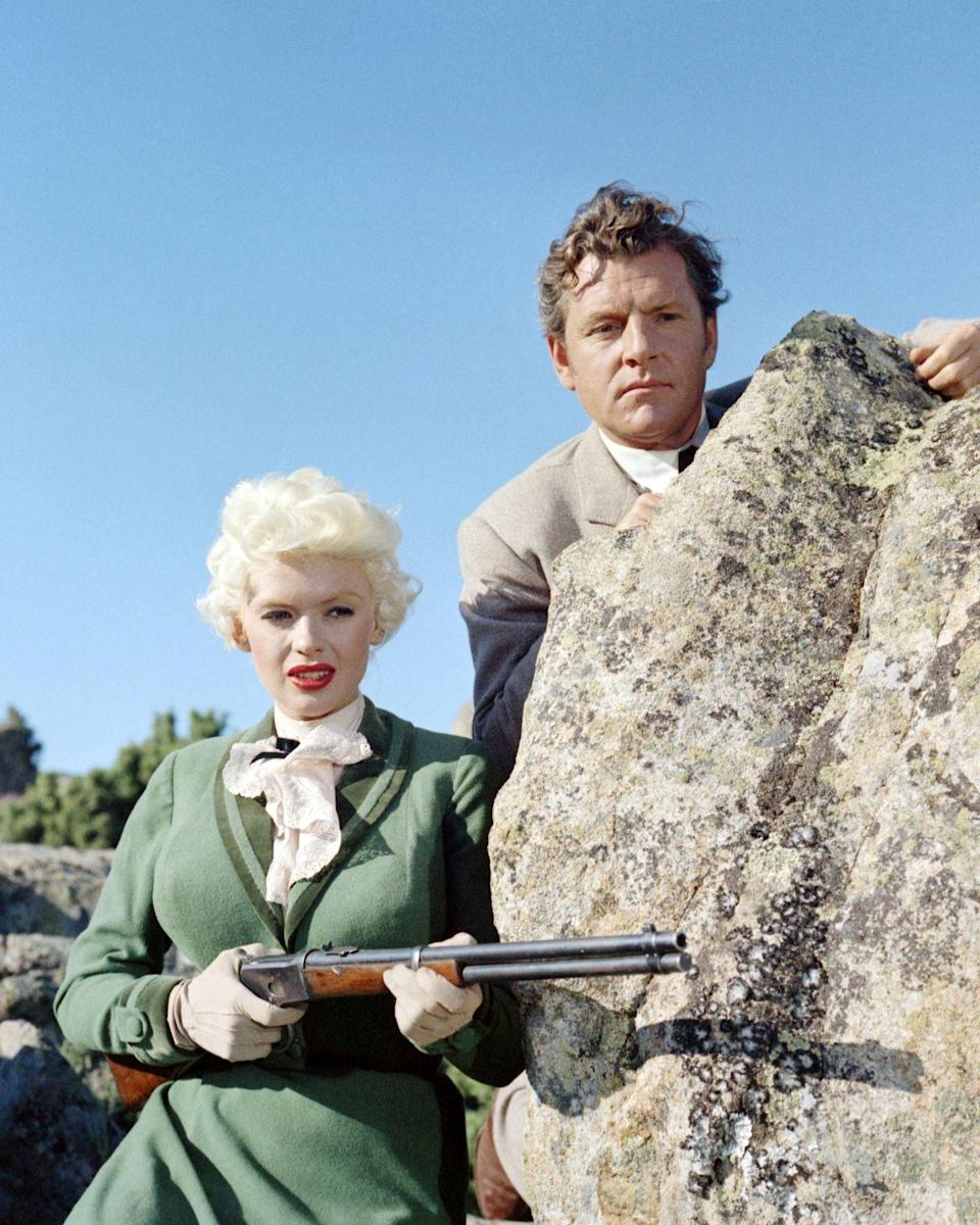 <p>Mansfield made a name for herself appearing in Fox's comedy blockbusters, but in 1958 she appeared alongside Kenneth More in the Western <em>The Sheriff of Fractured Jaw</em>.  </p>