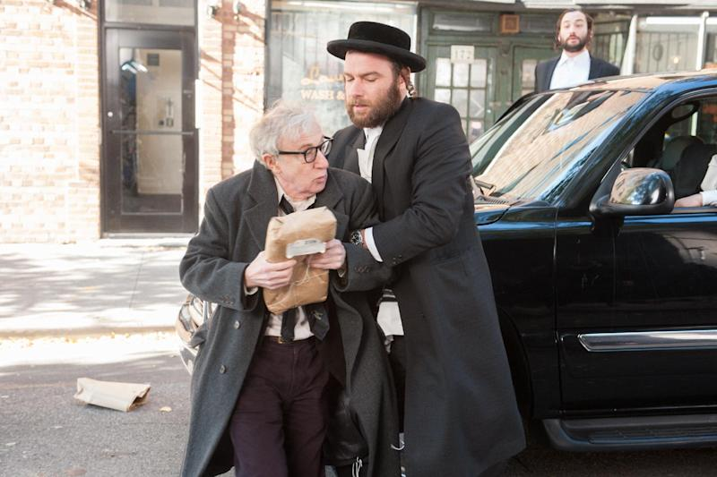"This image released by Millennium Entertainment shows Woody Allen, left, and Liev Schreiber in a scene from ""Fading Gigolo."" (AP Photo/Millennium Entertainment, JoJo Whilden)"