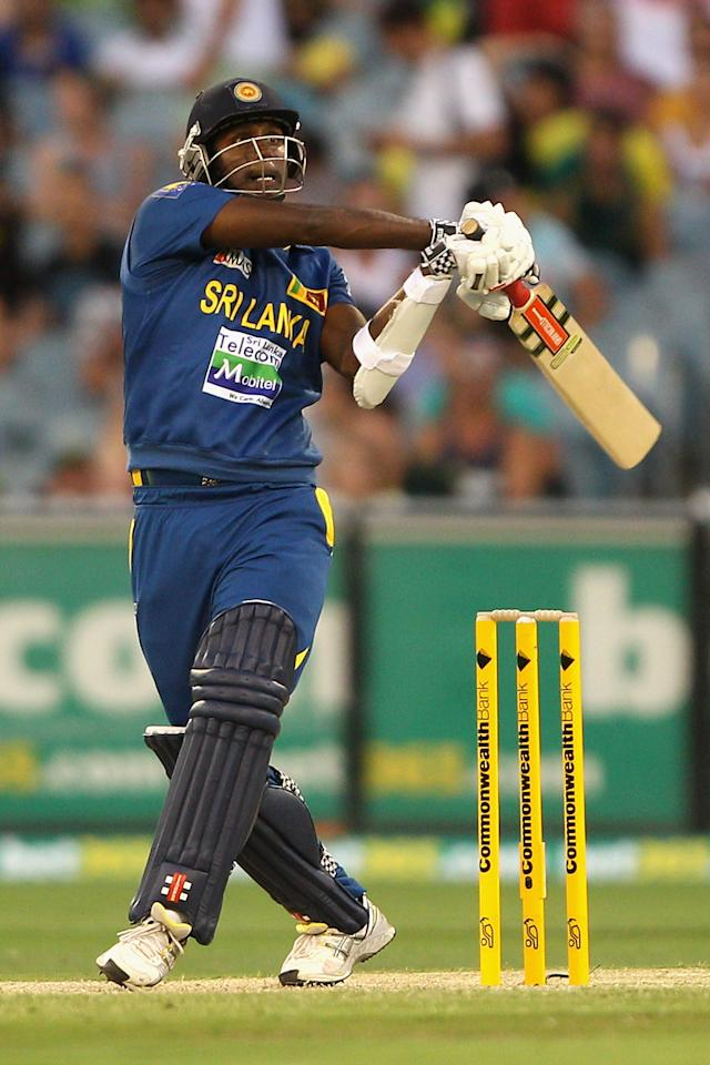 MELBOURNE, AUSTRALIA - JANUARY 11:  Angelo Mathews of Sri Lanka plays a shot during game one of the Commonwealth Bank One Day International series between Australia and Sri Lanka at Melbourne Cricket Ground on January 11, 2013 in Melbourne, Australia.  (Photo by Robert Prezioso/Getty Images)