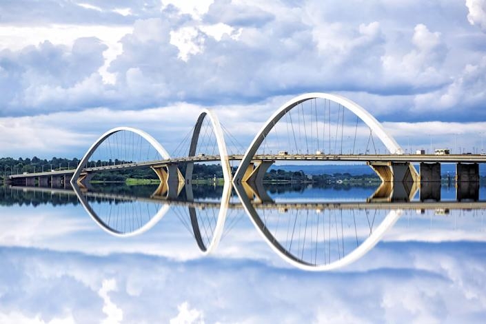 Located in Brasilia, Brazil, the Juscelino Kubitschek Bridge (also referred to as the JK Bridge) was designed by the architect Alexandre Chan and the structural engineer Mário Vila Verde. When it was completed in 2002, the total cost of the bridge was roughly $57 million.