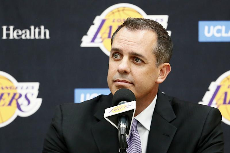 EL SEGUNDO, CA - MAY 20: Los Angeles Lakers hold a press conference to announce Frank Vogel as their new head coach on May 20, 2019 at the UCLA Health Training Center in El Segundo, California. NOTE TO USER: User expressly acknowledges and agrees that, by downloading and/or using this photograph, User is consenting to the terms and conditions of Getty Images License Agreement. Mandatory Copyright Notice: Copyright 2019 NBAE (Photo by Chris Elise/NBAE via Getty Images)