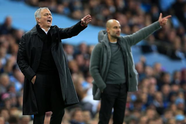 Jose Mourinho and Pep Guardiola square off again on Super Bowl Sunday. (Photo by Simon Stacpoole/Offside/Getty Images)