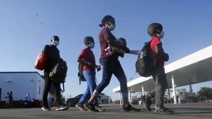 A family of Haitian migrants.