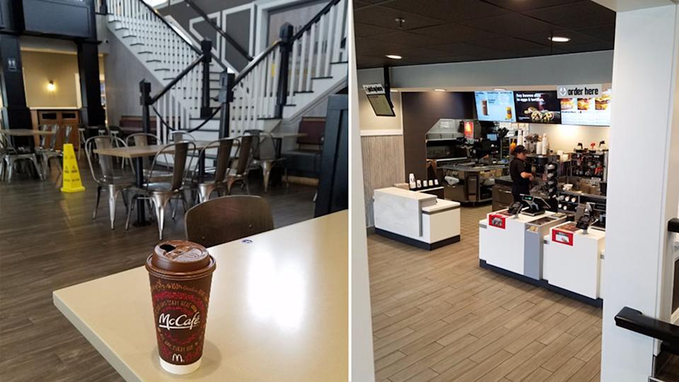 A McCafe coffee sits on a table as Denton House's bifurcated staircase is seen in the background is pictured left. On the right is the counter inside the McDonald's.