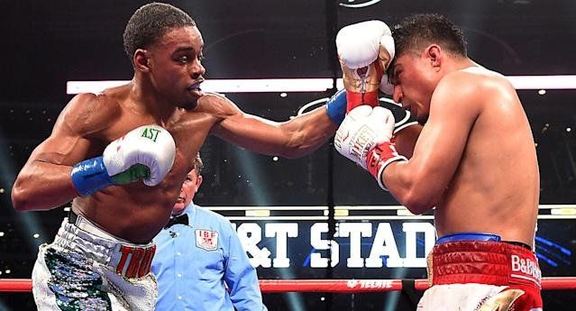 Errol Spence Jr. fights Mikey Garcia for the IBF welterweight championship at AT&T Stadium on March 16, 2019 in Dallas, Texas. (Frank Micelotta/Fox Sports)