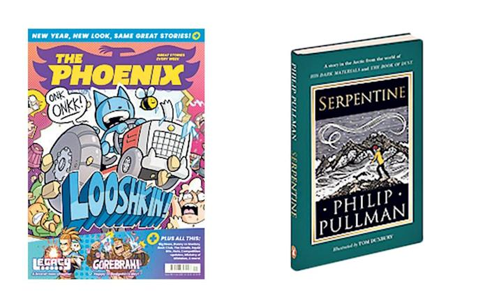 Left: become a cartoonist with Phoenix comics; right, Serpentine by Philip Pullman