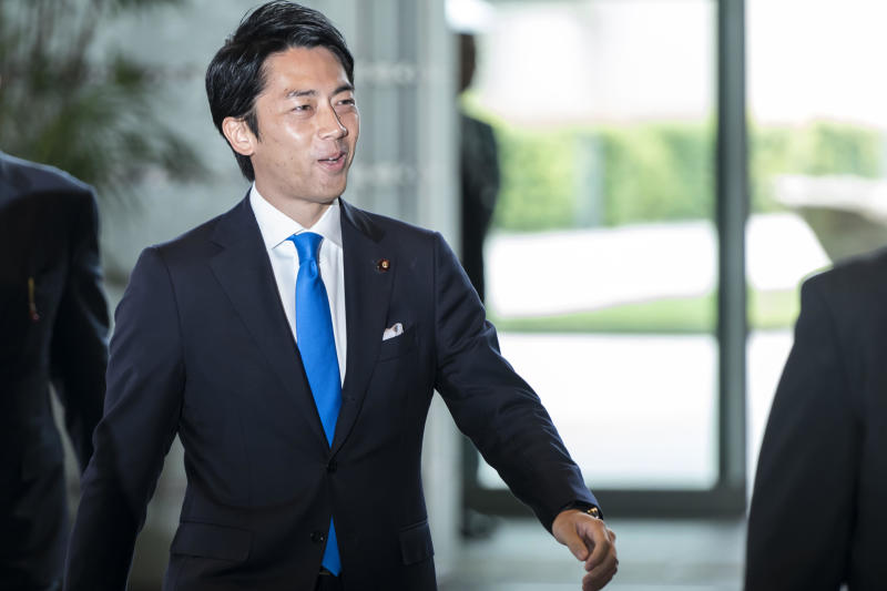 Japan's newly appointed Environment Minister Shinjiro Koizumi arrives at the prime minister's official residence on September 11, 2019 in Tokyo, Japan.