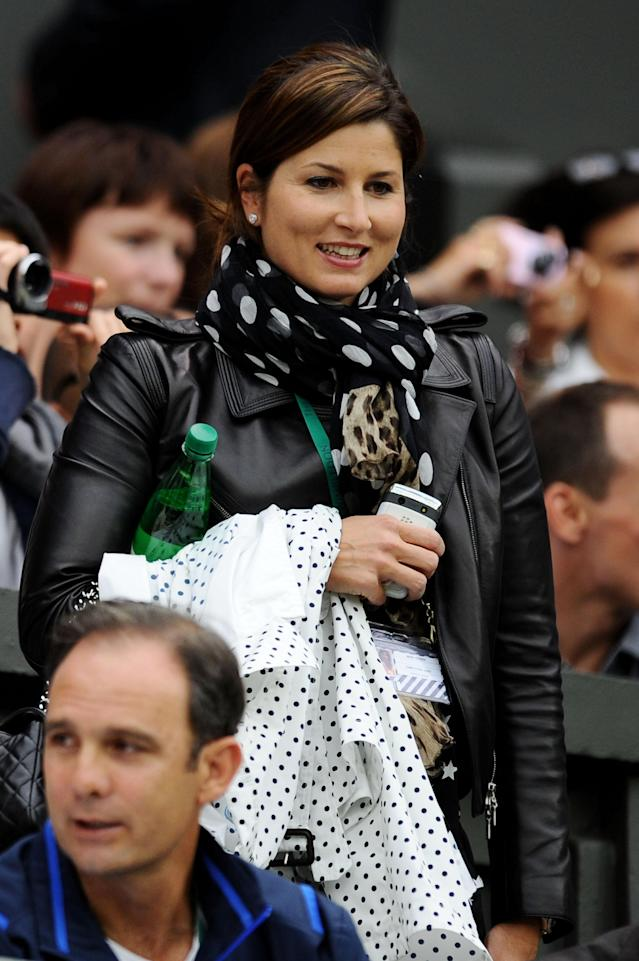 LONDON, ENGLAND - JUNE 23: Mirka Federer attends the second round match between Roger Federer of Switzerland and Adrian Mannarino of France on Day Four of the Wimbledon Lawn Tennis Championships at the All England Lawn Tennis and Croquet Club on June 23, 2011 in London, England. (Photo by Clive Mason/Getty Images)