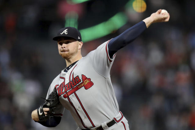 Atlanta Braves starting pitcher Sean Newcomb (15) throws a pitch in the first inning of a baseball game against the San Francisco Giants in San Francisco, Monday, Sept. 10, 2018. (AP Photo/Scot Tucker)