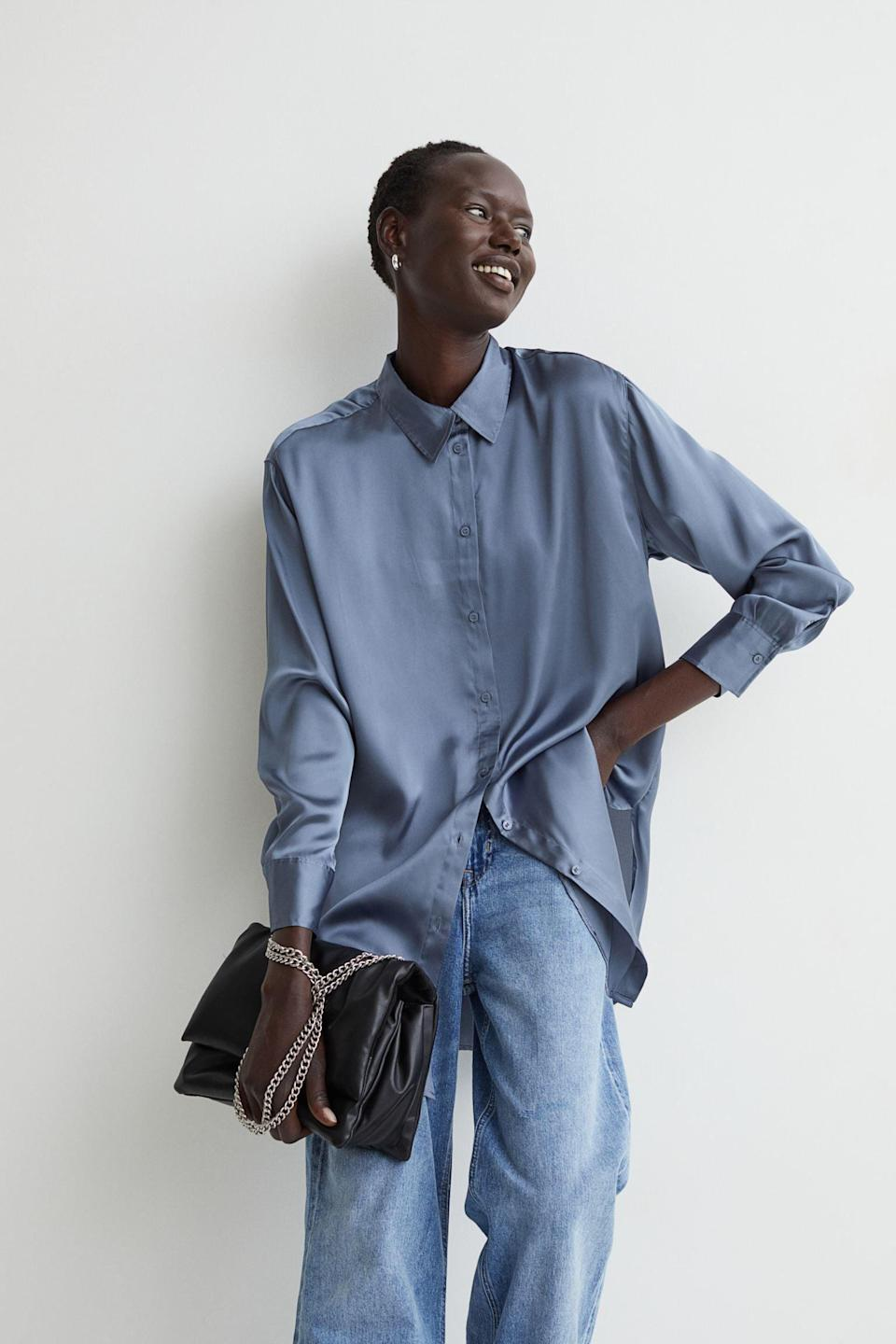 <p>There's a certain ease about this <span>Satin Shirt</span> ($25) that makes it a great everyday piece, yet the shiny fabric gives it understated elegance. Pair it with jeans for a semi-dressy ensemble.</p>