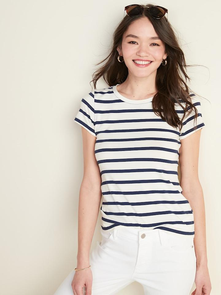 """<p><a href=""""https://www.popsugar.com/buy/Slim-Fit-Striped-Tee-Women-571481?p_name=Slim-Fit%20Striped%20Tee%20For%20Women&retailer=oldnavy.gap.com&pid=571481&price=16&evar1=fab%3Aus&evar9=47448870&evar98=https%3A%2F%2Fwww.popsugar.com%2Ffashion%2Fphoto-gallery%2F47448870%2Fimage%2F47448892%2FSlim-Fit-Striped-Tee-For-Women&list1=shopping%2Ct-shirts%2Cold%20navy%2Ceditors%20pick%2Ctops%2Cproduct%20reviews%2Caffordable%20shopping%2Ccheap%20obsessions&prop13=mobile&pdata=1"""" rel=""""nofollow"""" data-shoppable-link=""""1"""" target=""""_blank"""" class=""""ga-track"""" data-ga-category=""""Related"""" data-ga-label=""""https://oldnavy.gap.com/browse/product.do?pid=552576012&amp;pcid=999&amp;vid=1&amp;searchText=striped+tee#pdp-page-content"""" data-ga-action=""""In-Line Links"""">Slim-Fit Striped Tee For Women</a> ($16, originally $17)</p>"""